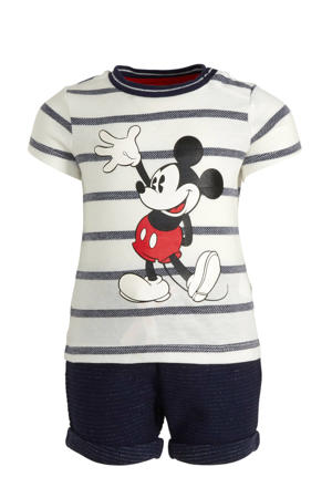 T-shirt + short - set van 2 Mickey Mouse wit/donkerblauw/rood
