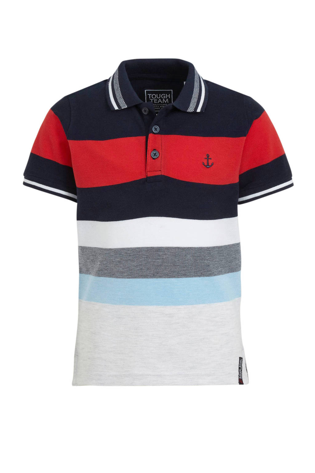 C&A Palomino polo rood/blauw/wit, Rood/blauw/wit