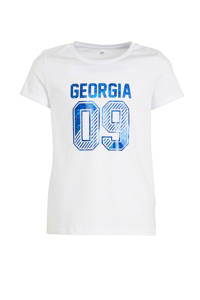 C&A Here & There T-shirt met tekst wit/blauw, Wit/blauw