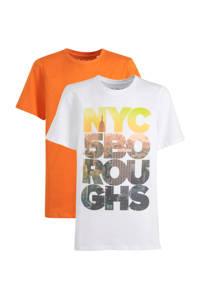 C&A Here & There T-shirt - set van 2 oranje/wit, Oranje/wit
