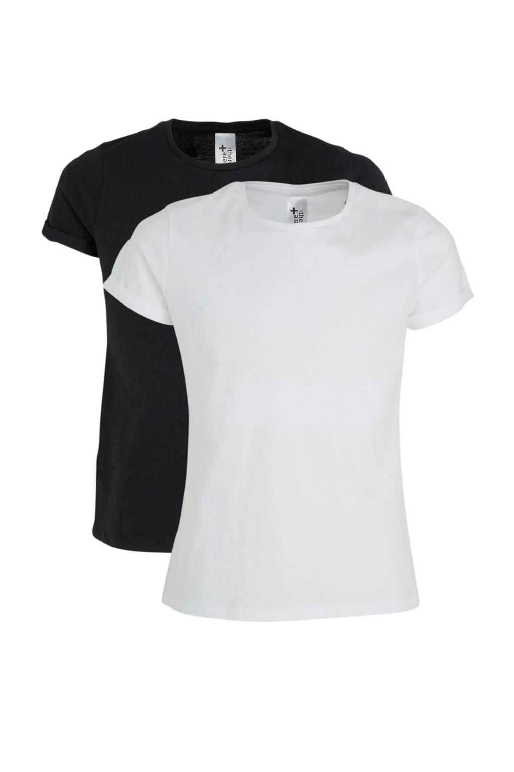 C&A Here & There basic T-shirt - (set van 2), Zwart/wit