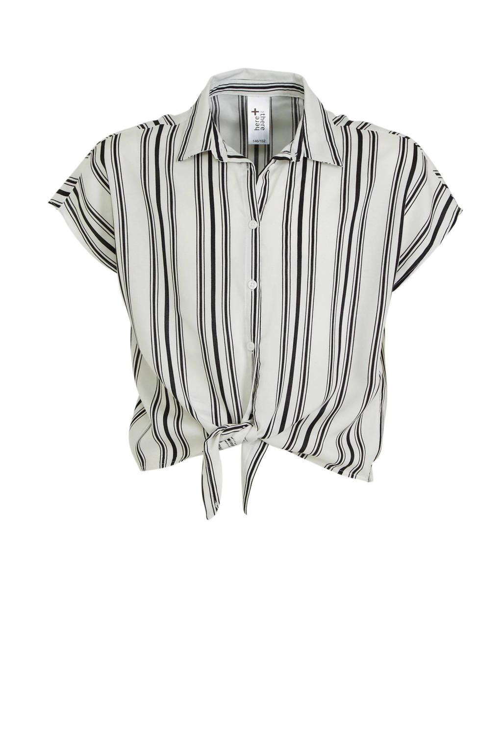 C&A Here & There gestreepte blouse wit/zwart, Wit/zwart