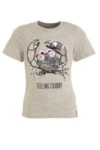 C&A Palomino T-shirt met omkeerbare pailletten grijs melange/blauw, Grijs melange/blauw