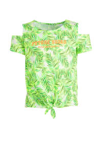C&A Here & There open shoulder top met all over print wit/groen/oranje, Wit/groen/oranje