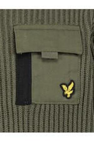 trui met patches olijfgroen