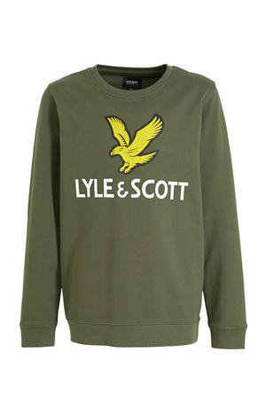 sweater met logo olijfgroen/geel/wit