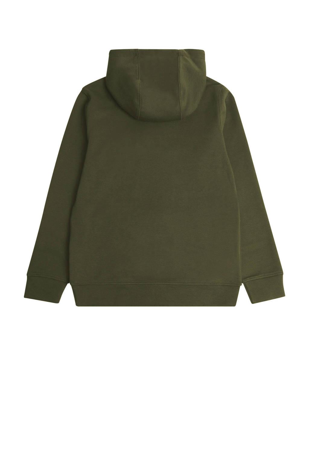 Lyle & Scott hoodie met logo olijfgroen/geel, Olijfgroen/geel
