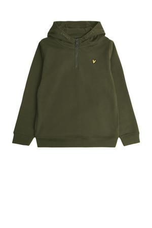 hoodie met logo olijfgroen/geel