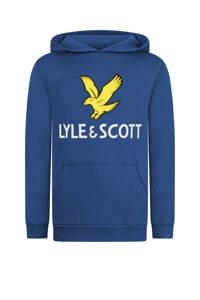 Lyle & Scott hoodie met logo blauw/geel/wit, Blauw/geel/wit