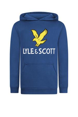 hoodie met logo blauw/geel/wit
