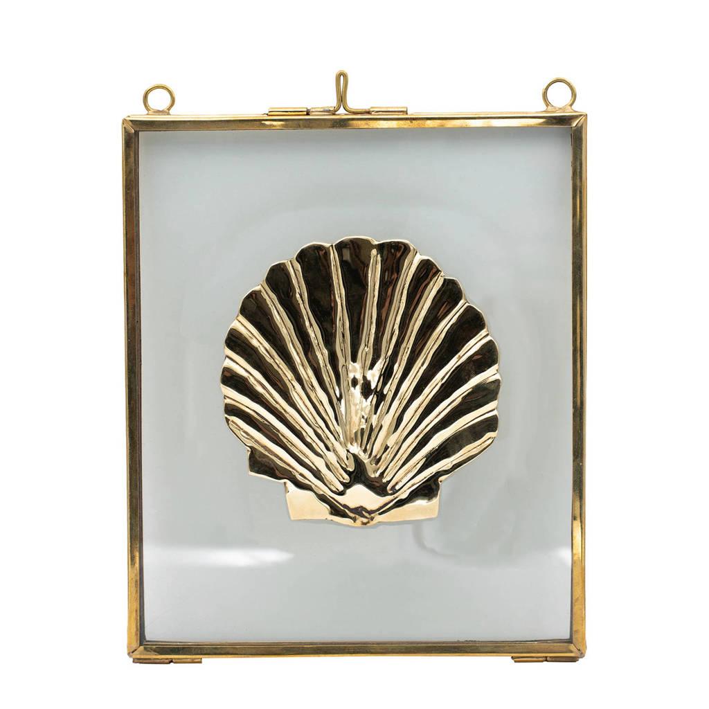 À la wanddecoratie Shell (16x14 cm), Goud