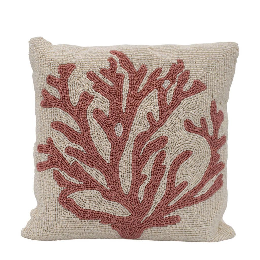 À la sierkussen Coral (35x35 cm), Wit/roze