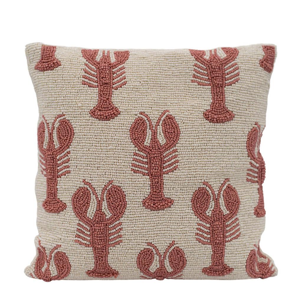 À la sierkussen Lobsters (35x35 cm), Wit/roze