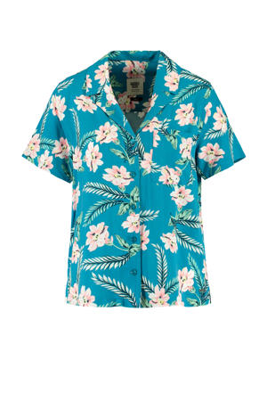 gebloemde blouse Ivy blauw/roze