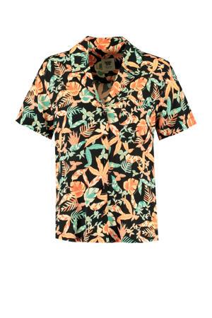 blouse Ivy met all over print zwart/oranje/groen