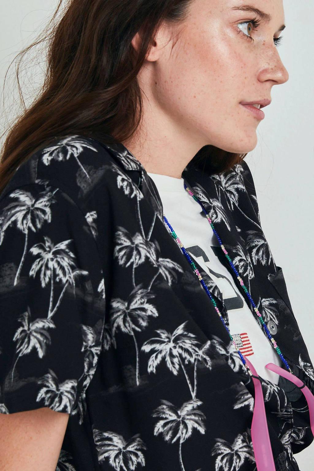 America Today blouse Ivy met all over print zwart/ecru, Zwart/ecru