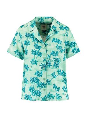 blouse Ivy met all over print groen/blauw