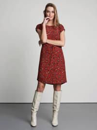 Catwalk Junkie jurk Clouded Leopard met panterprint en open detail rood, Rood