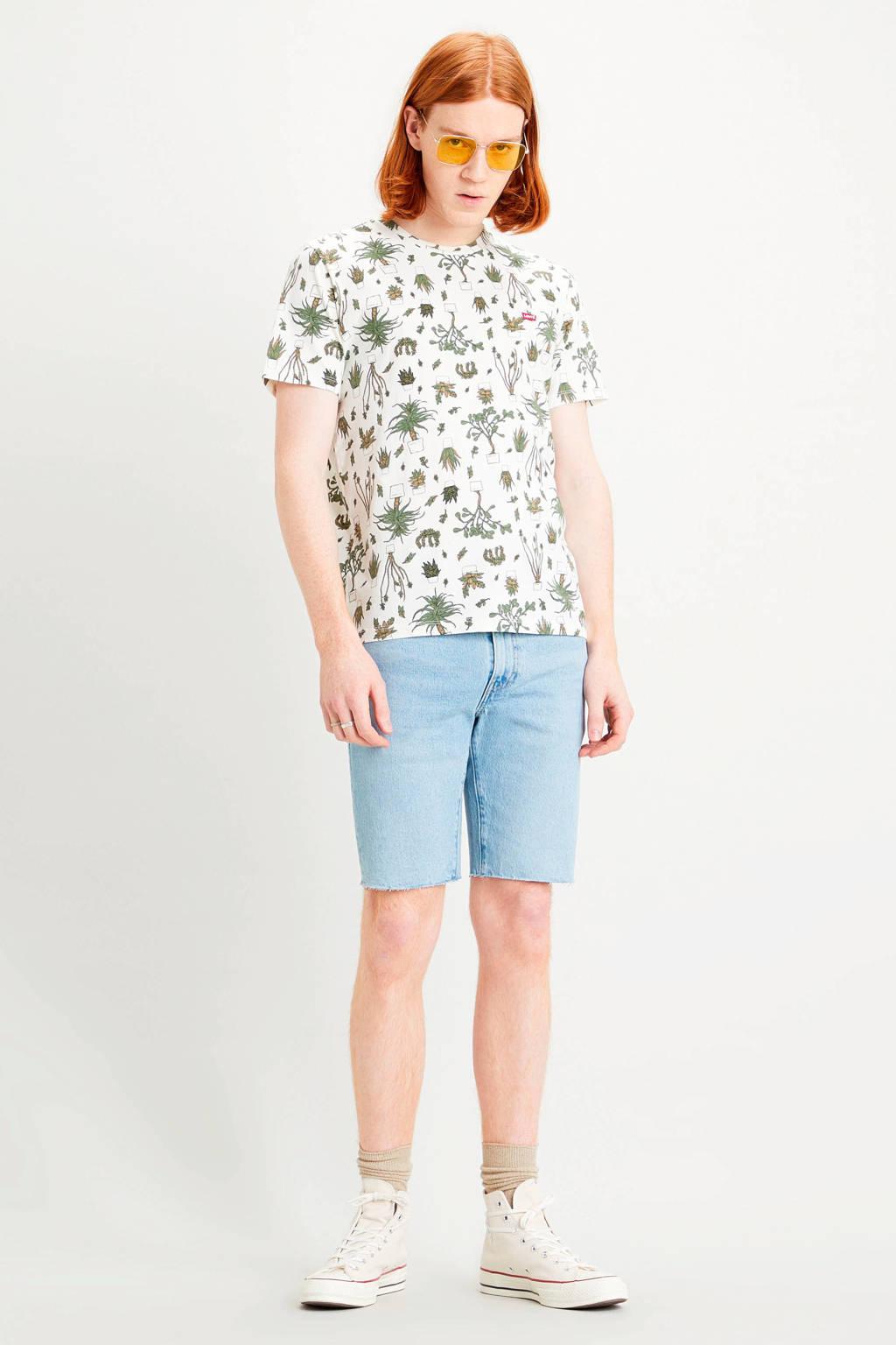 Levi's T-shirt met all over print wit/groen, Wit/groen