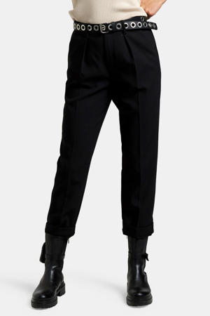 high waist slim fit broek zwart