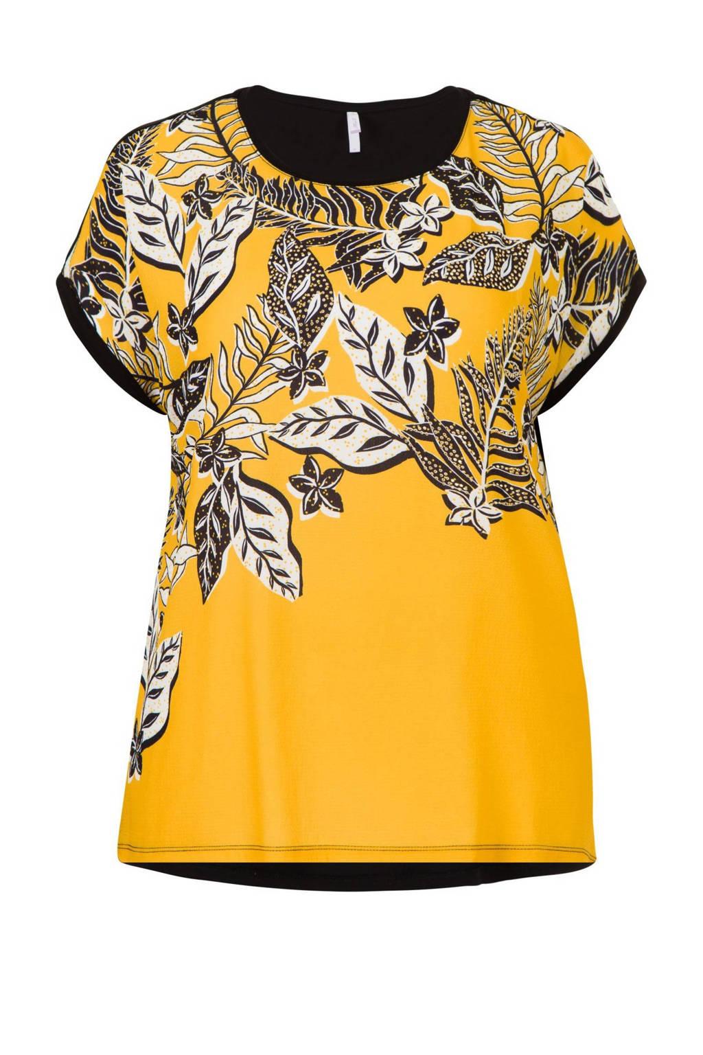 Miss Etam Plus T-shirt met bladprint geel/zwart, Geel/zwart