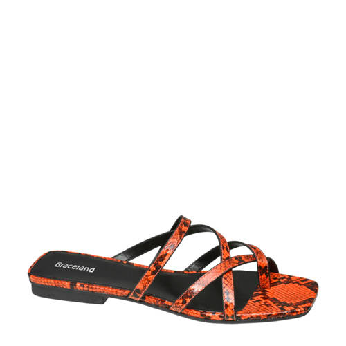 Graceland slippers slangenprint oranje