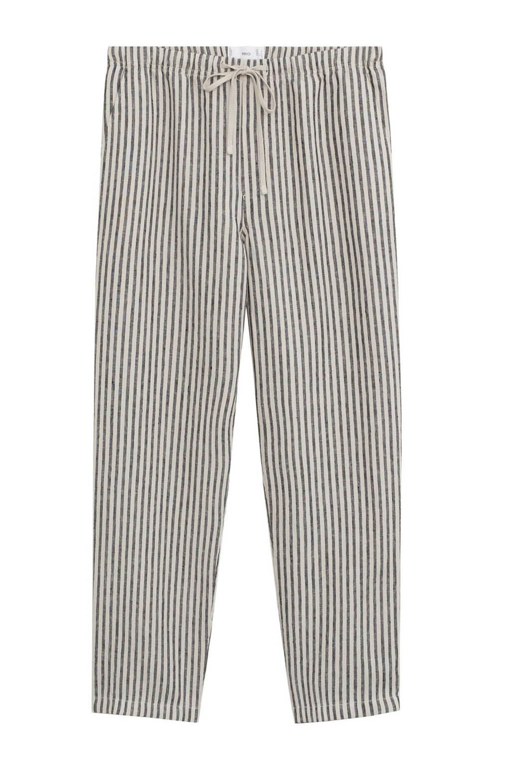 Mango linnen straight fit broek lichtbeige, Lichtbeige/ donkergrijs