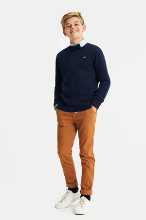 trui met textuur donkerblauw