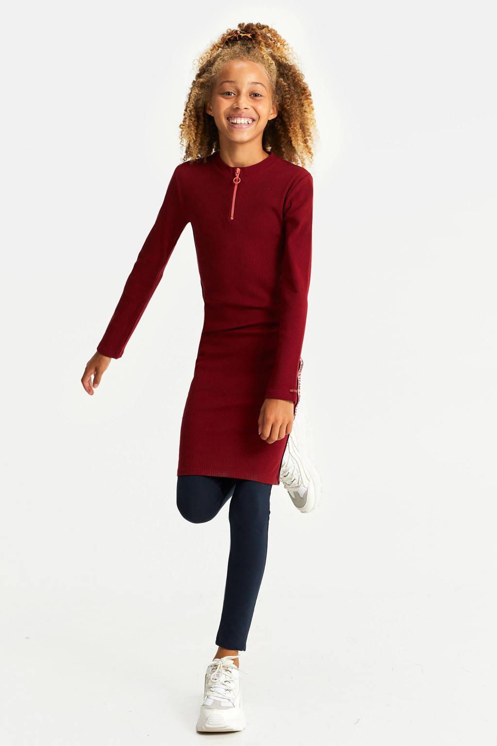 WE Fashion ribgebreide jurk met contrastbies donkerrood/fuchsia/zwart, Donkerrood/fuchsia/zwart