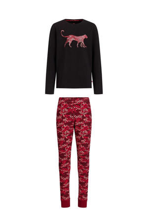 regular fit pyjama zwart/rood