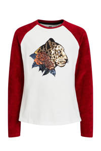 WE Fashion longsleeve met paisleyprint wit/rood, Wit/rood