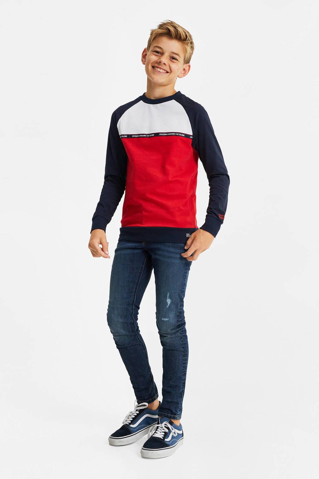 WE Fashion longsleeve - set van 2 rood/blauw, Rood/blauw