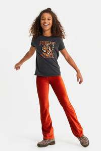 WE Fashion T-shirt met printopdruk en glitters zwart, Zwart