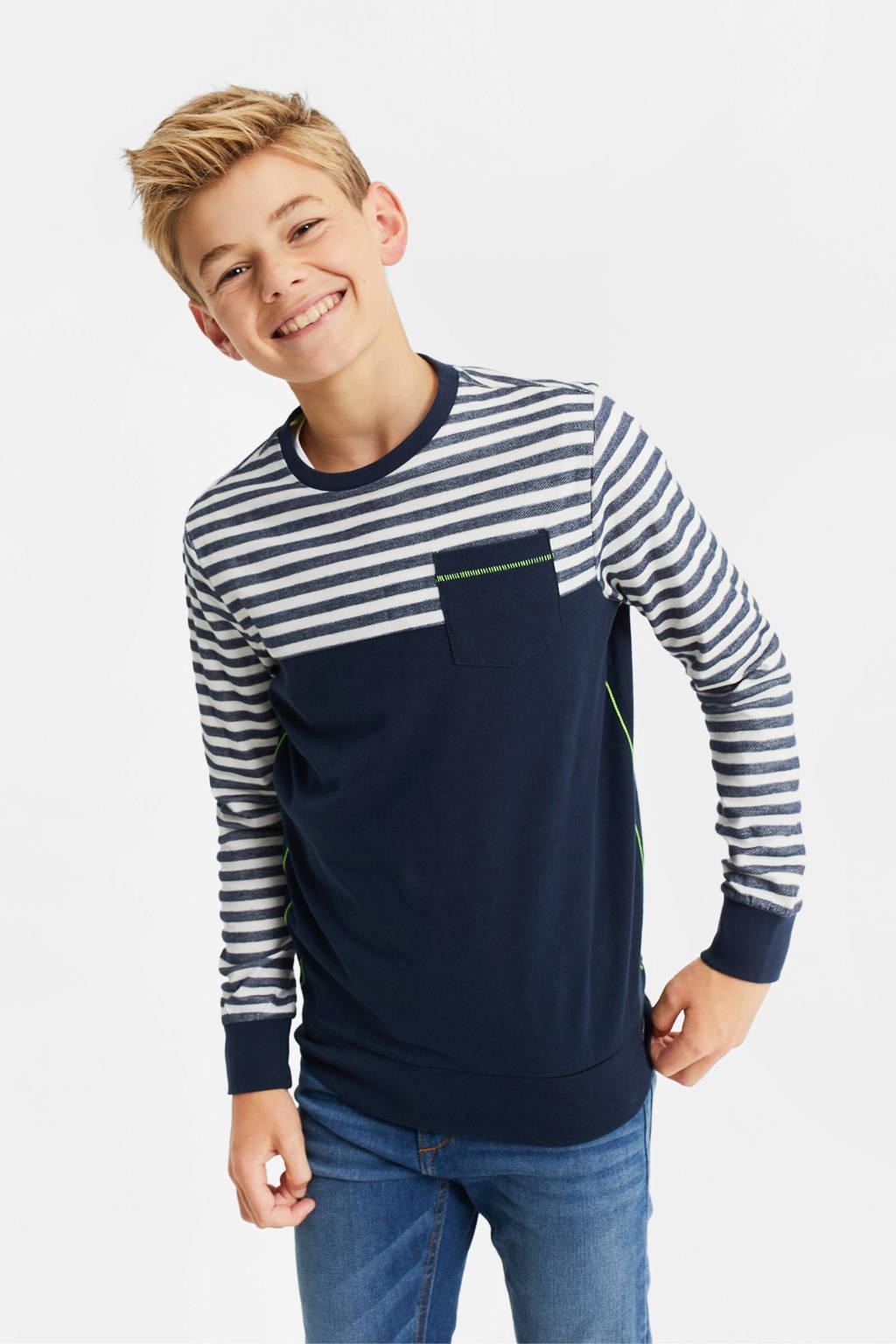 WE Fashion longsleeve - set van 2 donkerblauw/multicolor, Donkerblauw/multicolor