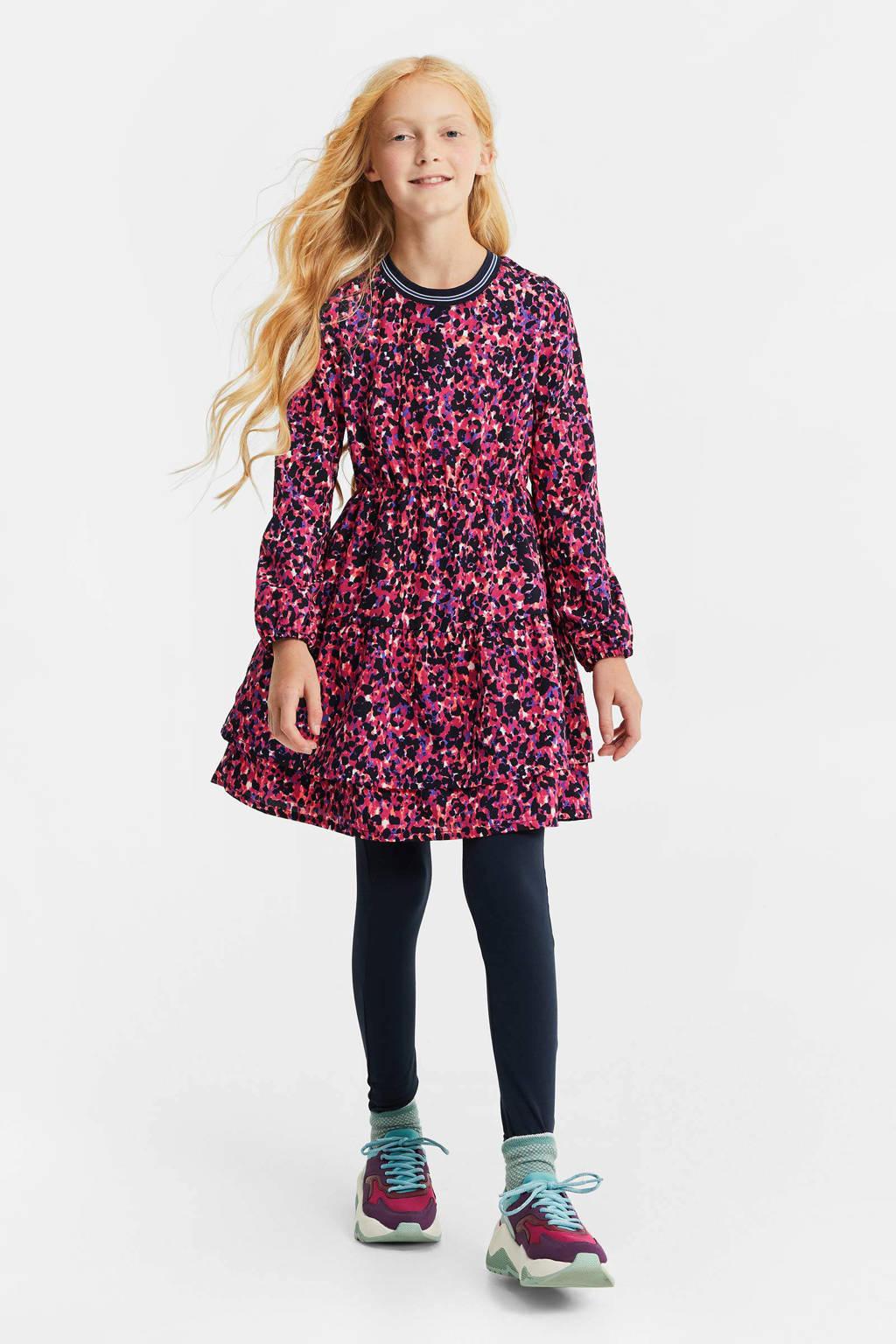 WE Fashion jurk met panterprint en volant fuchsia/zwart/paars