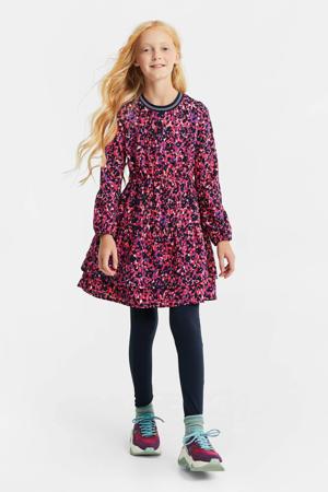 jurk met panterprint en volant fuchsia/zwart/paars