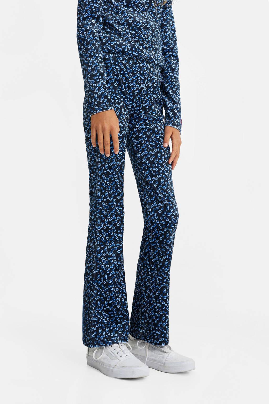 WE Fashion fluwelen broek met all over print donkerblauw/blauw, Donkerblauw/blauw