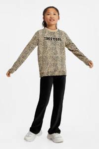 WE Fashion sweater met all over print beige/zwart, Beige/zwart