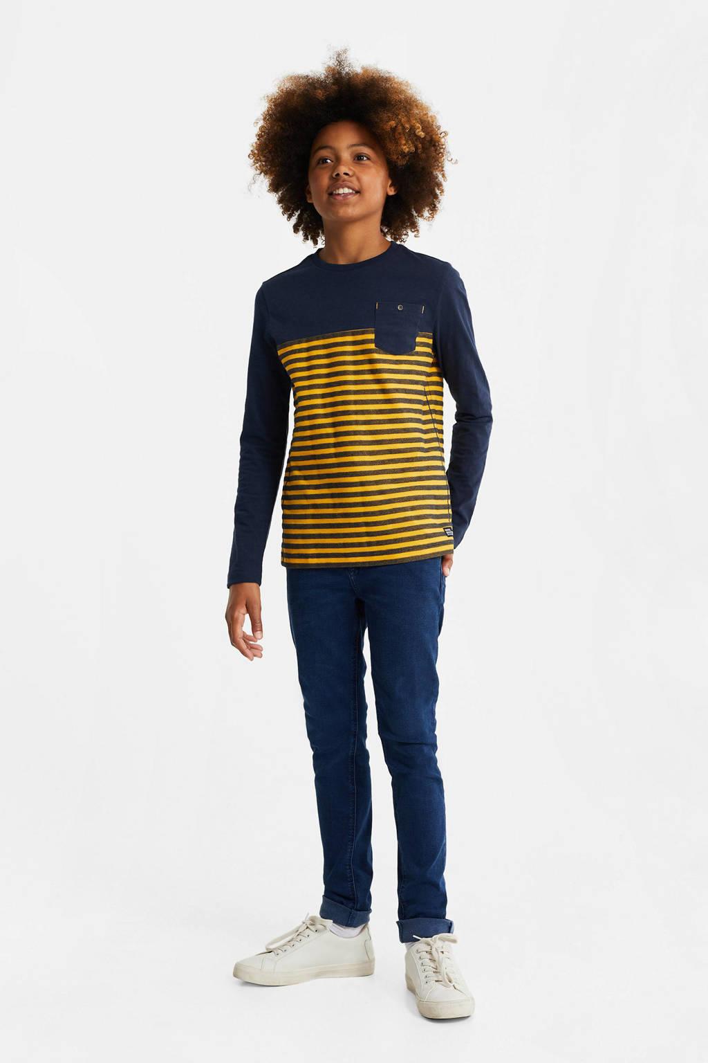 WE Fashion gestreepte longsleeve okergeel/donkerblauw, Okergeel/donkerblauw