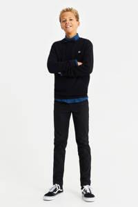 WE Fashion trui met textuur zwart, Zwart