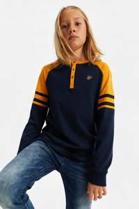 WE Fashion longsleeve okergeel/donkerblauw, Okergeel/donkerblauw