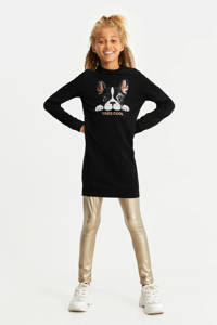 WE Fashion sweatjurk met printopdruk en pailletten zwart, Zwart