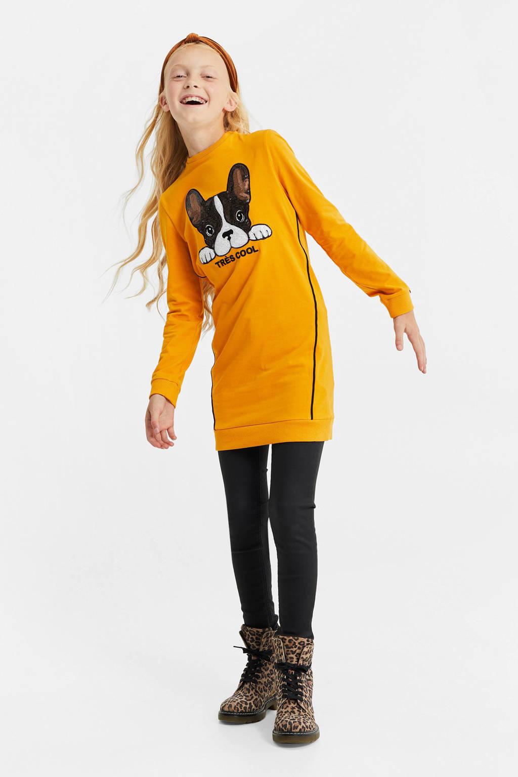 WE Fashion sweatjurk met printopdruk geel/zwart/wit, Geel/zwart/wit