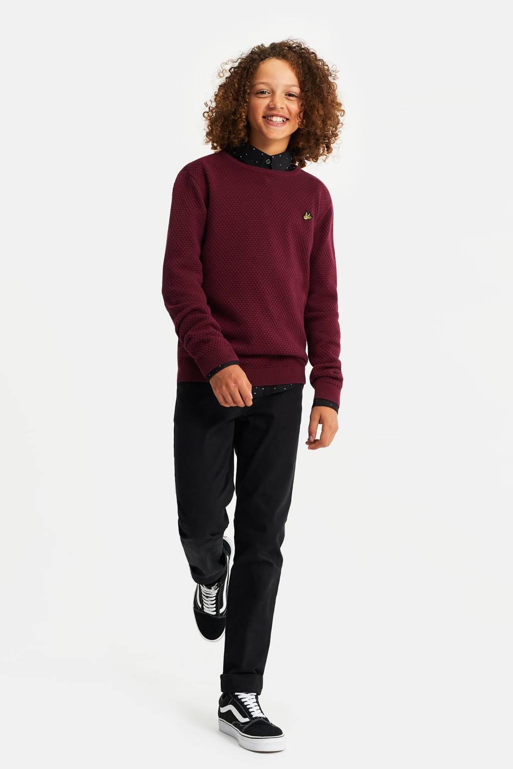 WE Fashion trui met textuur donkerrood, Donkerrood