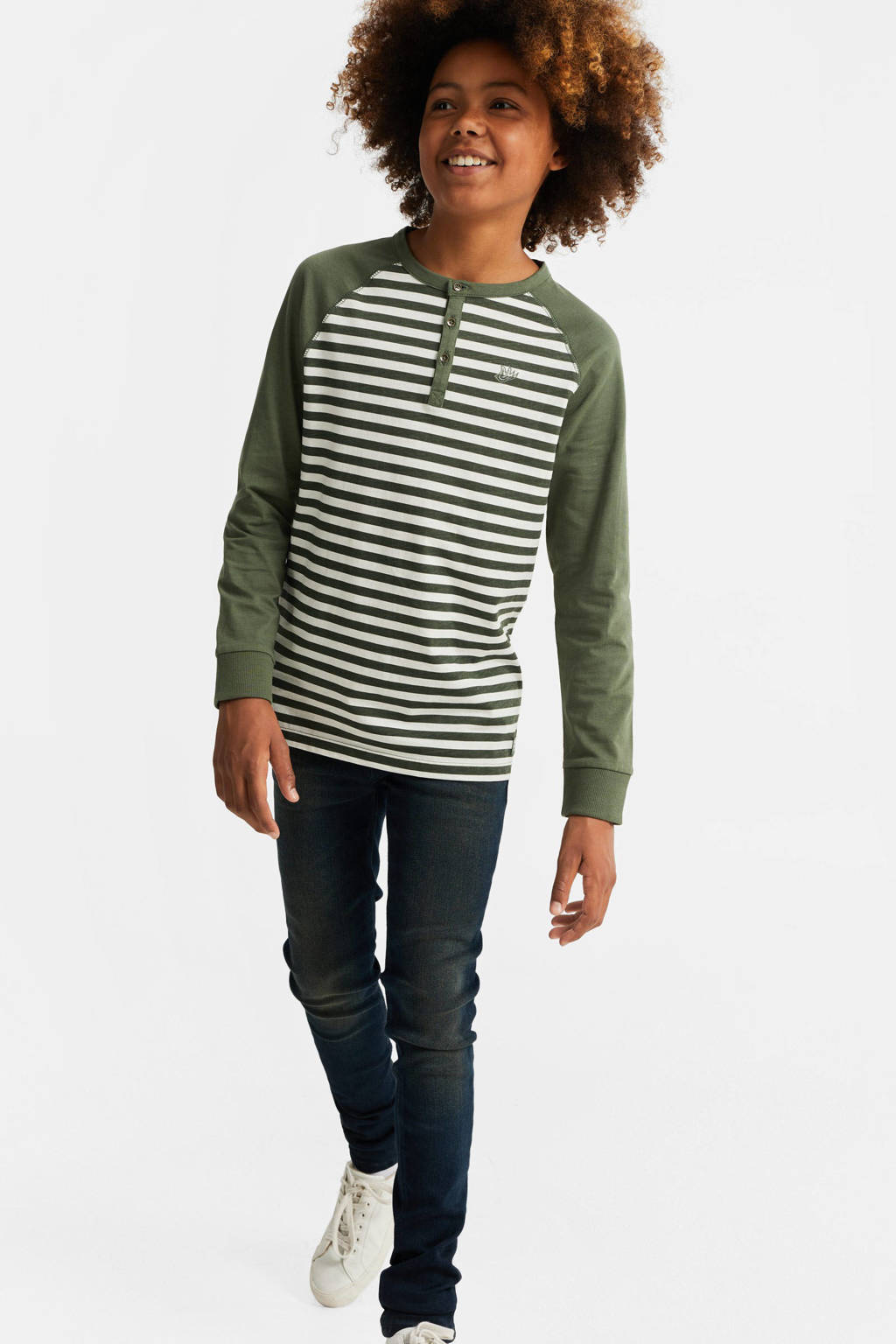 WE Fashion gestreepte longsleeve army groen/wit, Army groen/wit