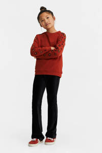 WE Fashion sweater met all over print en borduursels roodbruin/oranje/zwart, Roodbruin/oranje/zwart