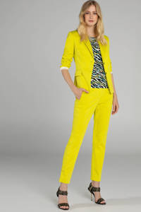 Claudia Sträter slim fit pantalon geel, Geel
