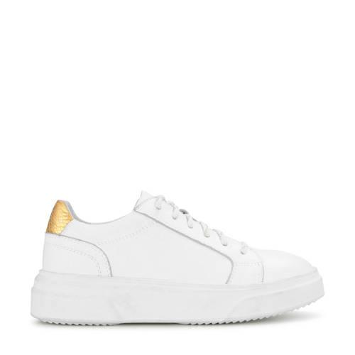 PS Poelman leren plateau sneakers wit/goud