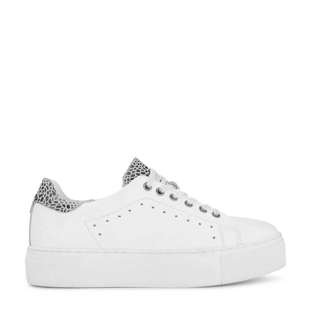PS Poelman   leren plateau sneakers wit/zwart, Wit/zwart