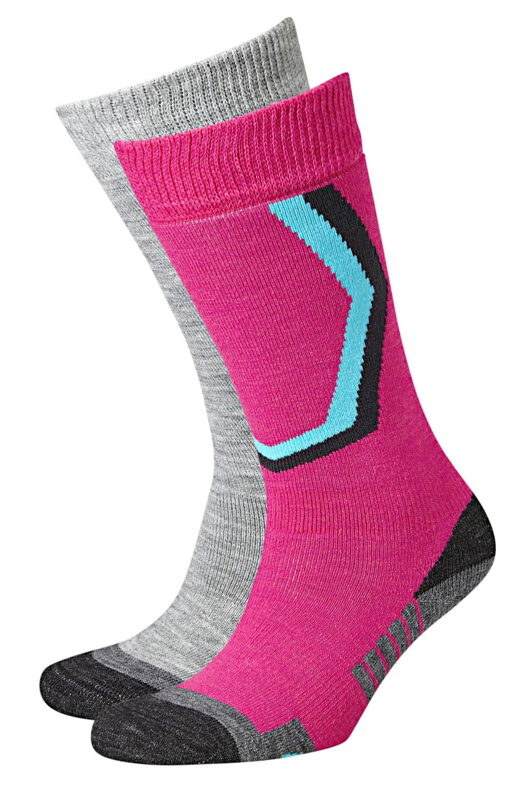 Icepeak skisokken (set van 2) roze/grijs, Roze/grijs